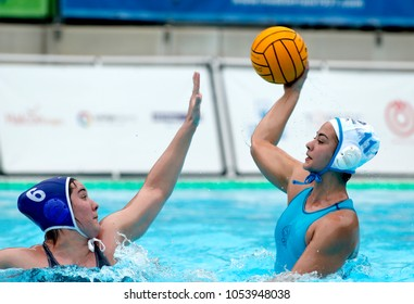 BARCELONA, SPAIN - FEB, 17: Paula Leiton(L) of CN Sabadell vies with Paula Crespi(R) of CN S. Andreu during a Copa Reina match at the J. Valles Swimming Pool on February 17, 2018 in Barcelona, Spain