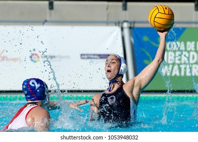 BARCELONA, SPAIN - FEB, 18: Pili Pena of CN Sabadell in action during a Copa Reina final against CN Terrassa at the J. Valles Swimming Pool on February 18, 2018 in Barcelona, Spain