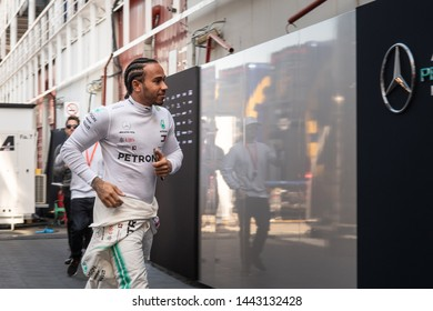 Barcelona, Spain - Feb 18th, 2019 - Lewis Hamilton (44) Mercedes AMG F1 Team running into the garage at Formula 1 Test at Circuit de Catalunya.