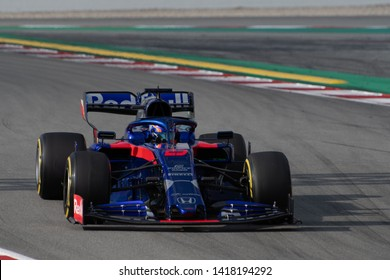 Barcelona, Spain. Feb 19th, 2019 - Alexander Albon of Thailand with 23 Scuderia Toro Rosso on track at F1 Winter Test at Circuit de Catalunya.