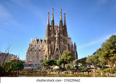 BARCELONA, SPAIN - FEB 2: View of the Sagrada Familia, a large Roman Catholic church in Barcelona, Spain, designed by Catalan architect Antoni Gaud�­, on February 2, 2013. Barcelona