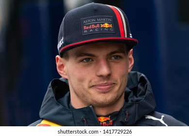 Barcelona, Spain. Feb 20th, 2019 - Max Verstappen of Netherlands with 33 Aston Martin Red Bull Racing portrait at F1 Test at Circuit de Catalunya.