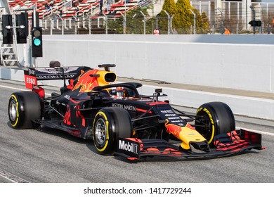 Barcelona, Spain. Feb 20th, 2019 - Max Verstappen of Netherlands with 33 Aston Martin Red Bull Racing RB15 on track at F1 Test at Circuit de Catalunya.