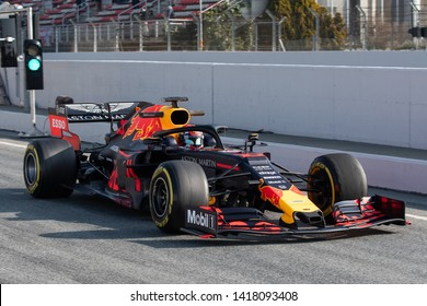 Barcelona, Spain.  Feb 21st, 2019 - Pierre Gasly of France with 10 Aston Martin Red Bull Racing on at F1 Test at Circuit de Catalunya.