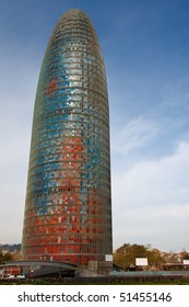 BARCELONA, SPAIN - FEB 22: Torre Agbar in the Poblenou neighborhood on February 22, 2010 in Barcelona, Spain. Owned by the Agbar Group, a holding company that include the water company Aigues de Barcelona