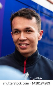 Barcelona, Spain. Feb 26th, 2019 - Alexander Albon of Thailand with 23 Scuderia Toro Rosso portrait at F1 Winter Test at Circuit de Catalunya.