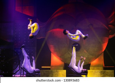 BARCELONA, SPAIN - FEB 27: Artists performs at Cirque's show Eoloh on February 27, 2013 in Barcelona, Spain.