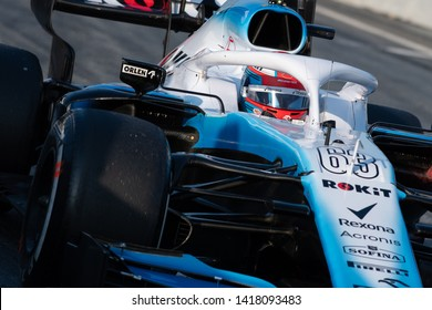 Barcelona, Spain.  Feb 28th, 2019 - George Russel from Great Britain with (63) Rokit Williams Racing on track at F1 Test Circuit de Catalunya.