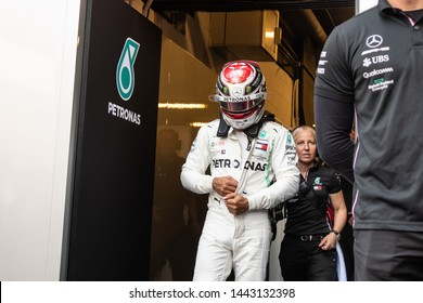 Barcelona, Spain. Feb 28th , 2019 Lewis Hamilton (44) with Mercedes AMG F1 Team walking out of garage at F1 Test  at Circuit de Catalunya.