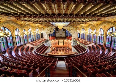 BARCELONA, SPAIN - FEB 3: The Palau de la Musica Catalana is a concert hall, built by the architect Lluis Domenech i Montaner between 1905 and 1908, on Febrary 3, 2013. Barcelona