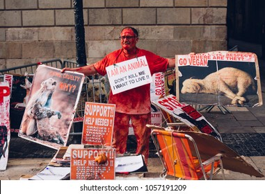 BARCELONA, SPAIN - FEBRUARY, 09, 2018. A man urging not to kill animals for meat on the street in the Gothic Quarter. Animal rights activist. Street protest against killing. Barcelona, Spain.