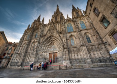 BARCELONA, SPAIN - FEBRUARY 1, 2020: The Cathedral of the Holy Cross and Saint Eulalia also known as Barcelona Cathedral in the Gothic Quarter in Barcelona, Spain