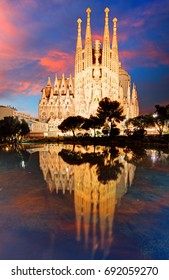 BARCELONA, SPAIN - FEBRUARY 10, 2016: Sagrada Familia basilica in Barcelona. The Antoni Gaudi masterpiece has become a UNESCO World Heritage Site in 1984.