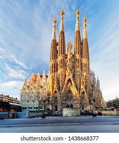 BARCELONA, SPAIN - FEBRUARY 10: La Sagrada Familia - the impressive cathedral designed by Gaudi, which is being build since 19 March 1882 and is not finished yet February 10, 2016 in Barcelona, Spain.