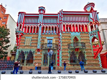 Barcelona, Spain - February 12, 2020:  Exterior view of the famous modernist Casa Vicens, massive 4-storey residence designed by Antoni Gaudí, with Moorish influences and a protruding corner