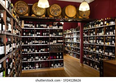 Barcelona, Spain - February 12, 2020: Assortment of european red and white wine in modern liquor store