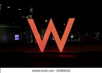BARCELONA, SPAIN - FEBRUARY 14, 2015: W Hotels Worldwide sign logo located at W Hotel in Barceloneta beach, on February 14, 2015 in Barcelona, Spain.