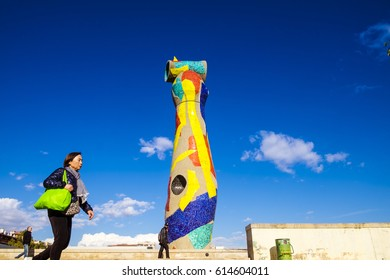 Barcelona, Spain - February 14, 2016:  Statue 'Woman and Bird' (Dona i Ocell, in catalan), created by Joan Miro in Joan Miro square