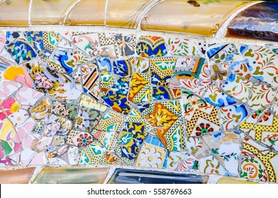 BARCELONA, SPAIN - FEBRUARY 15, 2015: High dynamic range (HDR) The Park Guell aka Parc Guell designed by Catalan architect Antoni Gaudi