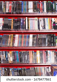 BARCELONA, SPAIN - FEBRUARY 15, 2018: CD and DVD store offering huge selection of movies on its shelves
