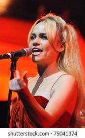 BARCELONA, SPAIN - FEBRUARY 15: Duffy performs live in Barcelona on February 18, 2011 in Barcelona, Spain