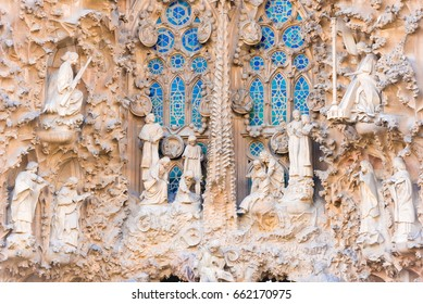 BARCELONA, SPAIN - FEBRUARY 16, 2017: Cathedral of Sagrada Familia. The famous project of Antonio Gaudi. Sculptures, close-up