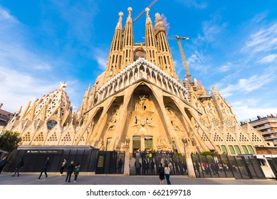 BARCELONA, SPAIN - FEBRUARY 16, 2017: Cathedral of Sagrada Familia. The famous project of Antonio Gaudi. Copy space. Space for text