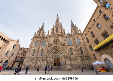 BARCELONA, SPAIN - FEBRUARY 16, 2017: Cathedral of the Holy Cross and St. Eulalia. Copy space. Space for text