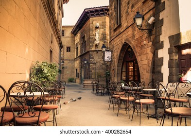 BARCELONA, SPAIN - FEBRUARY 17: Poble Espanyol in Barcelona, Spain on February 17, 2016.Traditional architectural complex. It was constructed in 1929, for the Barcelona International Exhibition.