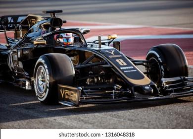 Barcelona, Spain - February 18, 2019: Romain Grosjean driver of HAAS F1 team at Formula 1 testing at Catalunya circuit in Barcelona, Spain