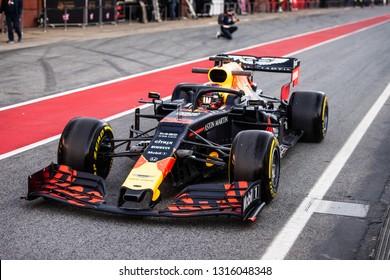 Barcelona, Spain - February 18, 2019: Max Verstappen driver RedBull Racing at Formula 1 testing at Catalunya circuit in Barcelona, Spain