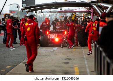 Barcelona, Spain - February 18, 2019: Sebastian Vettel pit stop of Scuderia Ferrari team at Formula 1 testing at Catalunya circuit in Barcelona, Spain