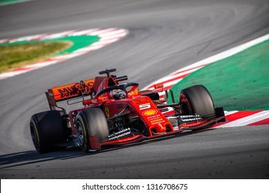 Barcelona, Spain - February 18, 2019: Sebastian Vettel a Scuderia Ferrari driver, on the track during Formula 1 testing at Catalunya circuit in Barcelona, Spain
