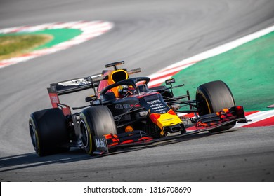Barcelona, Spain - February 18, 2019: Max Verstappen, a RedBull Racing driver, on the track, Formula 1 testing at Catalunya circuit in Barcelona, Spain