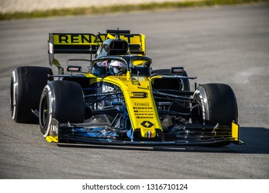 Barcelona, Spain - February 18, 2019: Daniel Ricciardo a Renault F1 Team driver, on the track during Formula 1 testing at Catalunya circuit in Barcelona, Spain