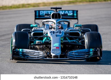 Barcelona, Spain - February 18, 2019: Lewis Hamilton a Mercedes AMG driver, on the track, during Formula 1 testing at Catalunya circuit in Barcelona, Spain