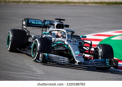 BARCELONA, SPAIN – FEBRUARY 18, 2019: Lewis hamilton of Mercedes during Formula One Test days at Circuit of Barcelona-Catalunya.