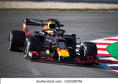 BARCELONA, SPAIN – FEBRUARY 18, 2019: Max Verstappen of RedBull Racing during Formula One Test days at Circuit of Barcelona-Catalunya.