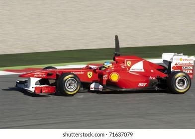 BARCELONA, SPAIN - FEBRUARY 18: Fernando Alonso drives for the Ferrari team during testing at the Circuit de Catalunya February 18, 2011 in Barcelona, Spain.