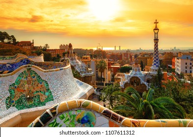 BARCELONA, SPAIN - FEBRUARY 18: View of the city from Park Guell in Barcelona, Spain on February 18, 2018.