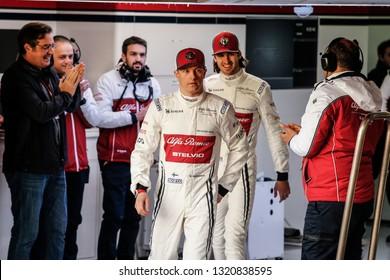 Barcelona, Spain. February 18/21, 2019. F1 test for season 2019. Drivers Kimi Raikkonen and Antonio Giovinazzi unveil C38, the new Alfa Romeo F1.