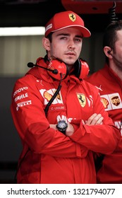 Barcelona, Spain. February 18/21, 2019. F1 test for season 2019. Portrait of Charles Leclerc, Monaco, new driver of Scuderia Ferrari, talking with technicians.