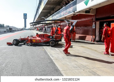 Barcelona, Spain. February 18/21, 2019. F1 test for season 2019. Sebastian Vettel, Germany, Scuderia Ferrari. Testing new Ferrari F1 SF90.