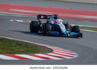 Barcelona, Spain. February 18/21, 2019. F1 test for season 2019. Robert Kubica, Poland, testing FW42, new car of Rokit Williams Racing.