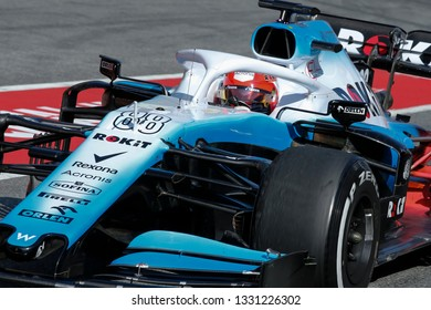 Barcelona, Spain. February 18/21, 2019. F1 test for season 2019. Robert Kubica, Poland, testing FW42, new car of Rokit Williams Racing.