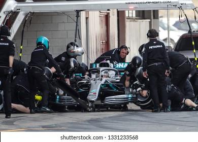 Barcelona, Spain. February 18/21, 2019. F1 test for season 2019. Lewis Hamilton, England, testing W10 EQ Power+, new car of Mercedes-AMG Petronas Motorsport.