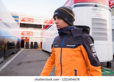 BARCELONA, SPAIN  FEBRUARY 19, 2019: Lando Norris of McLaren during Formula One Test days at Circuit of Barcelona-Catalunya.