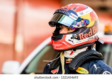 BARCELONA, SPAIN  FEBRUARY 19, 2019: Pierre Gasly of RedBull Racing during Formula One Test days at Circuit of Barcelona-Catalunya.