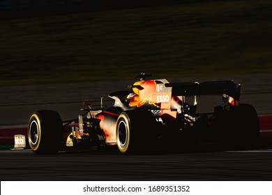 Barcelona, Spain - February 19-21, 2020: contrast shot of 33 VERSTAPPEN Max (nld), Aston Martin Red Bull Racing Honda RB16, on the track during Formula 1 testing at Barcelona circuit.