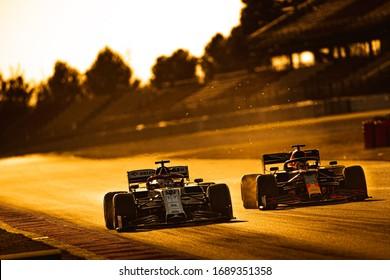 Barcelona, Spain - February 19-21, 2020: 33 VERSTAPPEN Max (nld), Aston Martin Red Bull Racing Honda RB16, overtaking GIOVINAZZI Antonio, on the track during Formula 1 testing at Barcelona circuit.